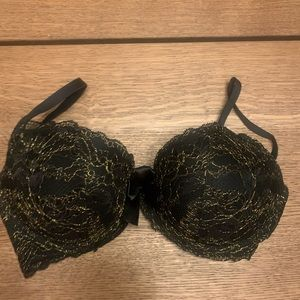 Aerie 36D Black Lace Push Up Bra with Gold